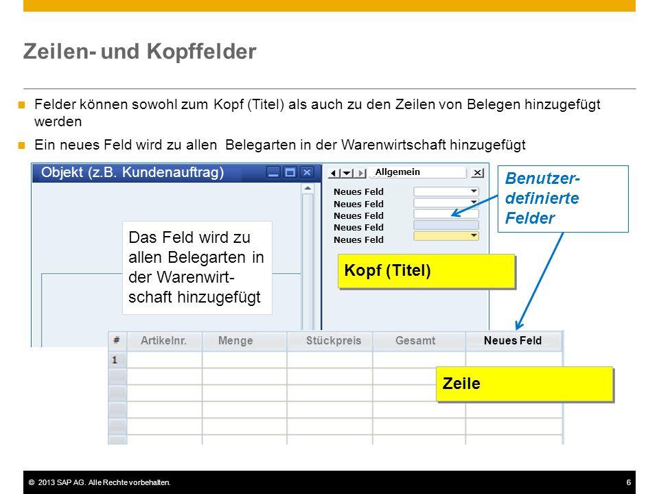 ©2013 SAP AG. Alle Rechte vorbehalten.6 Felder können sowohl zum Kopf (Titel) als auch zu den Zeilen von Belegen hinzugefügt werden Ein neues Feld wir