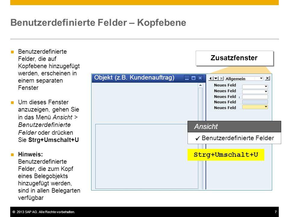 ©2013 SAP AG. Alle Rechte vorbehalten.7 Objekt (z.B. Kundenauftrag) Neues Feld Benutzerdefinierte Felder – Kopfebene Benutzerdefinierte Felder Ansicht