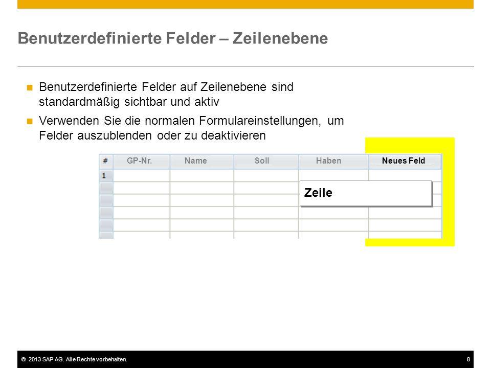©2013 SAP AG. Alle Rechte vorbehalten.8 Benutzerdefinierte Felder – Zeilenebene Benutzerdefinierte Felder auf Zeilenebene sind standardmäßig sichtbar