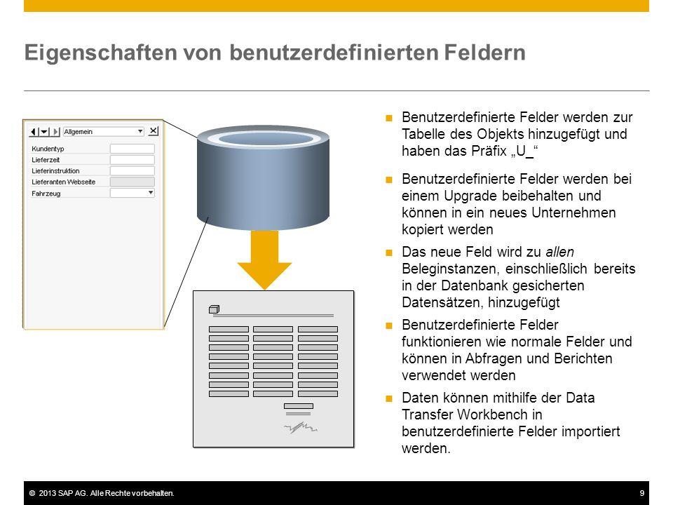 ©2013 SAP AG. Alle Rechte vorbehalten.9 Eigenschaften von benutzerdefinierten Feldern Benutzerdefinierte Felder werden zur Tabelle des Objekts hinzuge