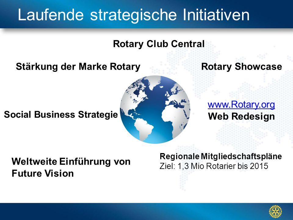 Click to edit Master title styleLaufende strategische Initiativen Rotary Club Central Stärkung der Marke Rotary Regionale Mitgliedschaftspläne Ziel: 1,3 Mio Rotarier bis 2015 Social Business Strategie Weltweite Einführung von Future Vision www.Rotary.org Web Redesign Rotary Showcase