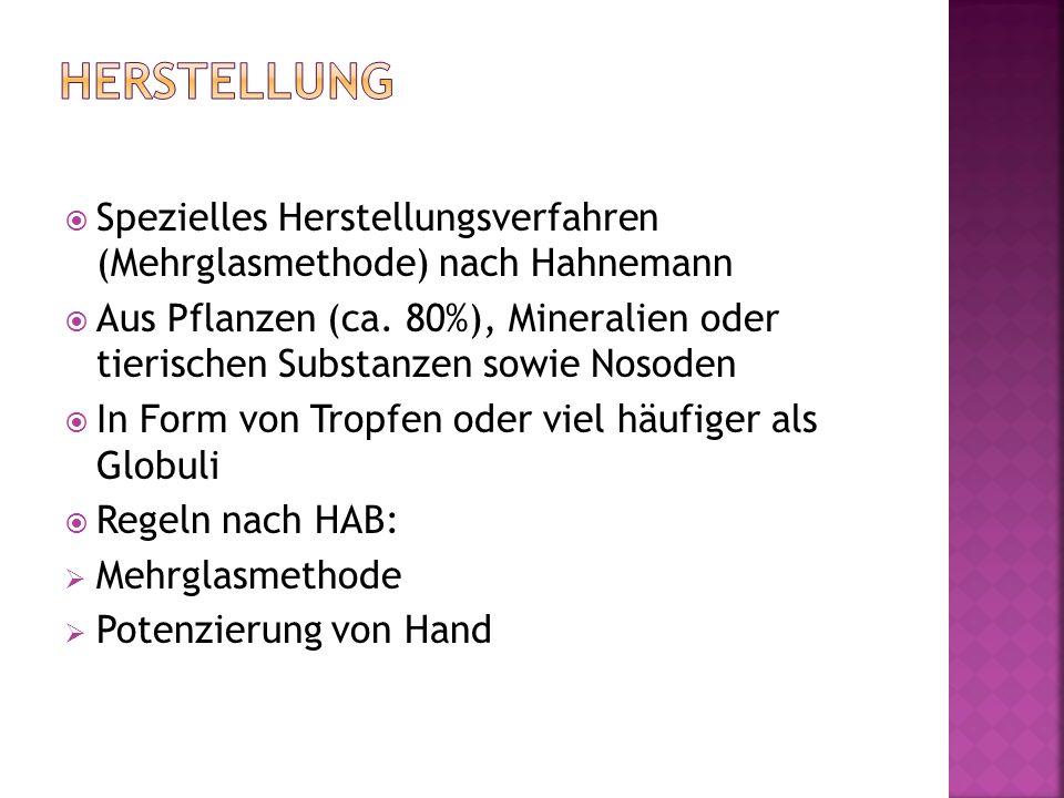  Spezielles Herstellungsverfahren (Mehrglasmethode) nach Hahnemann  Aus Pflanzen (ca.
