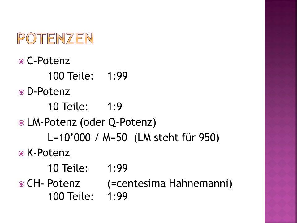  C-Potenz 100 Teile:1:99  D-Potenz 10 Teile:1:9  LM-Potenz (oder Q-Potenz) L=10'000 / M=50 (LM steht für 950)  K-Potenz 10 Teile:1:99  CH- Potenz(=centesima Hahnemanni) 100 Teile: 1:99