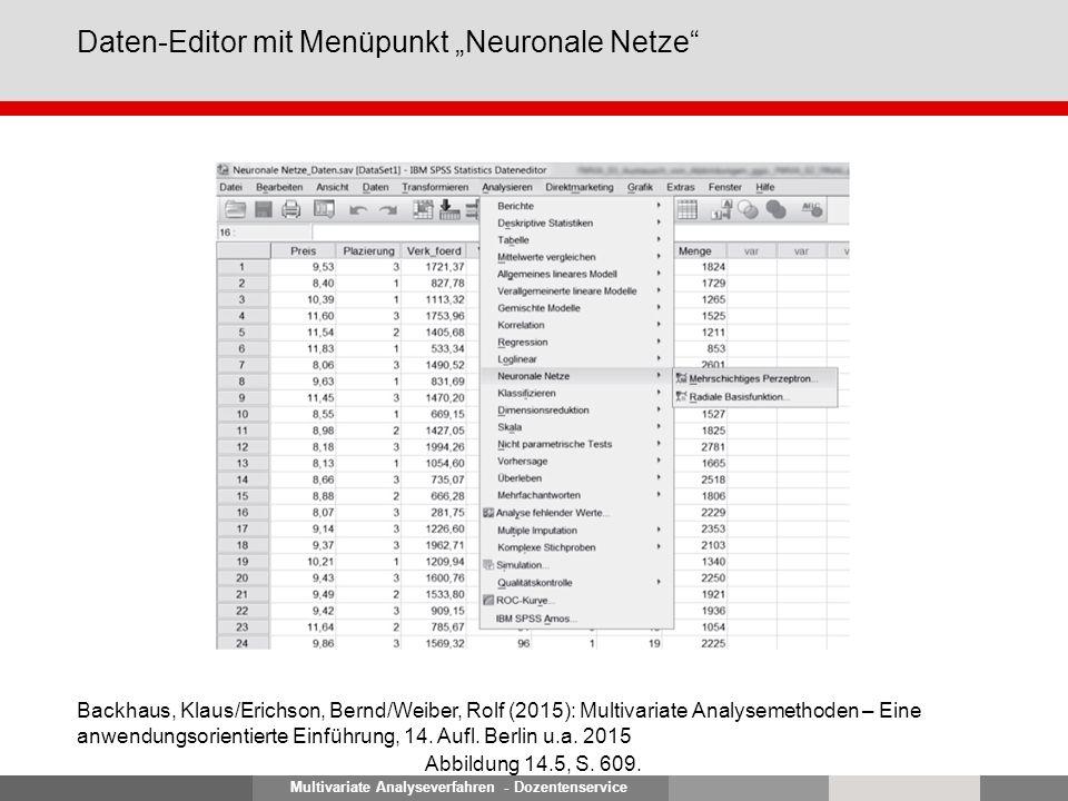 """Multivariate Analyseverfahren - Dozentenservice Daten-Editor mit Menüpunkt """"Neuronale Netze"""" Abbildung 14.5, S. 609. Backhaus, Klaus/Erichson, Bernd/W"""