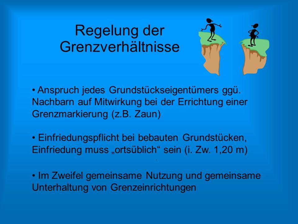 Regelung der Grenzverhältnisse Anspruch jedes Grundstückseigentümers ggü. Nachbarn auf Mitwirkung bei der Errichtung einer Grenzmarkierung (z.B. Zaun)