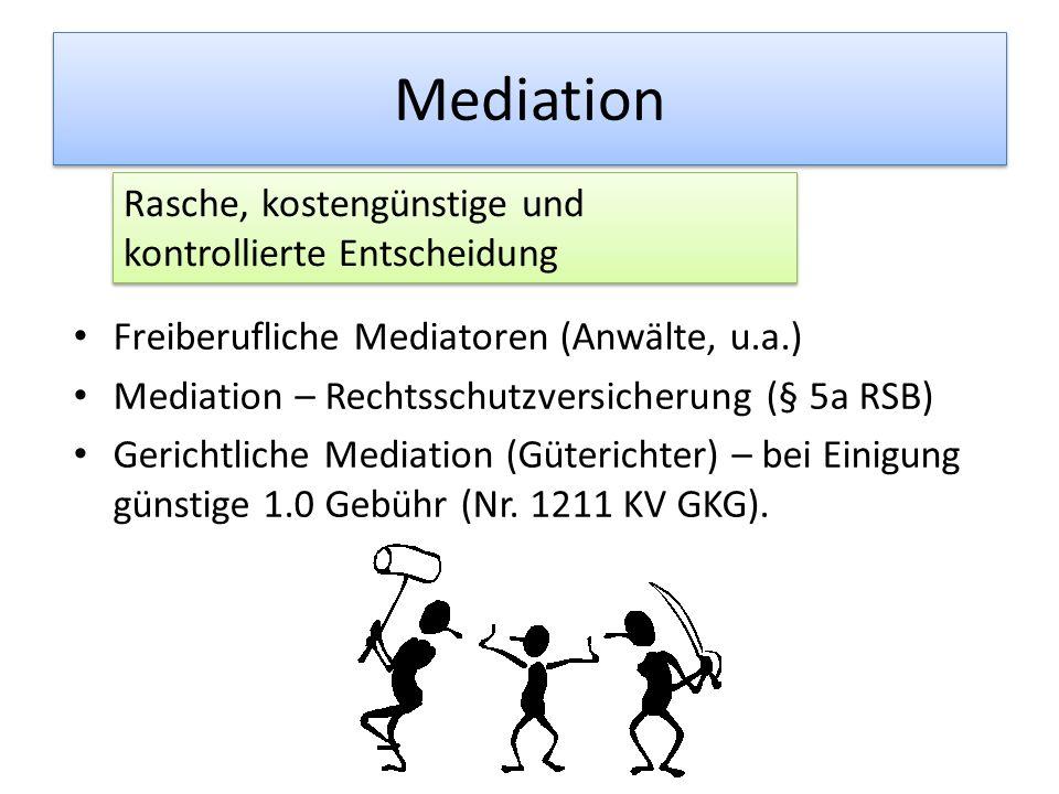 Mediation Freiberufliche Mediatoren (Anwälte, u.a.) Mediation – Rechtsschutzversicherung (§ 5a RSB) Gerichtliche Mediation (Güterichter) – bei Einigung günstige 1.0 Gebühr (Nr.