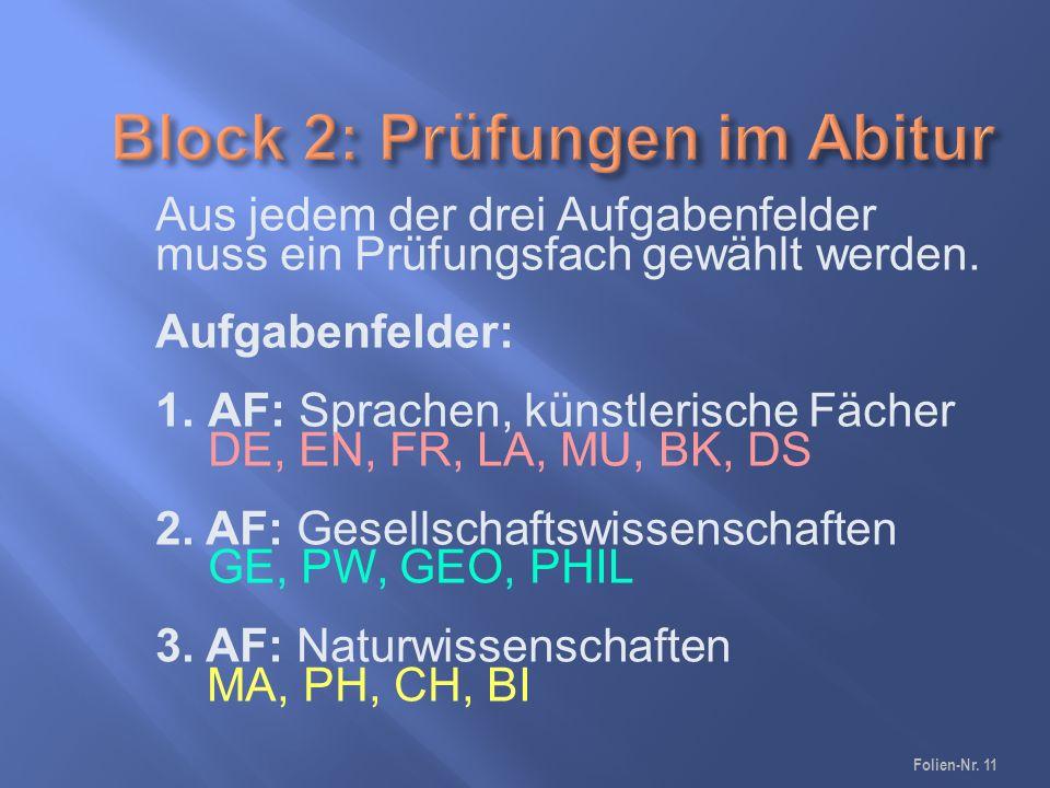 Folien-Nr. 11 Aus jedem der drei Aufgabenfelder muss ein Prüfungsfach gewählt werden.