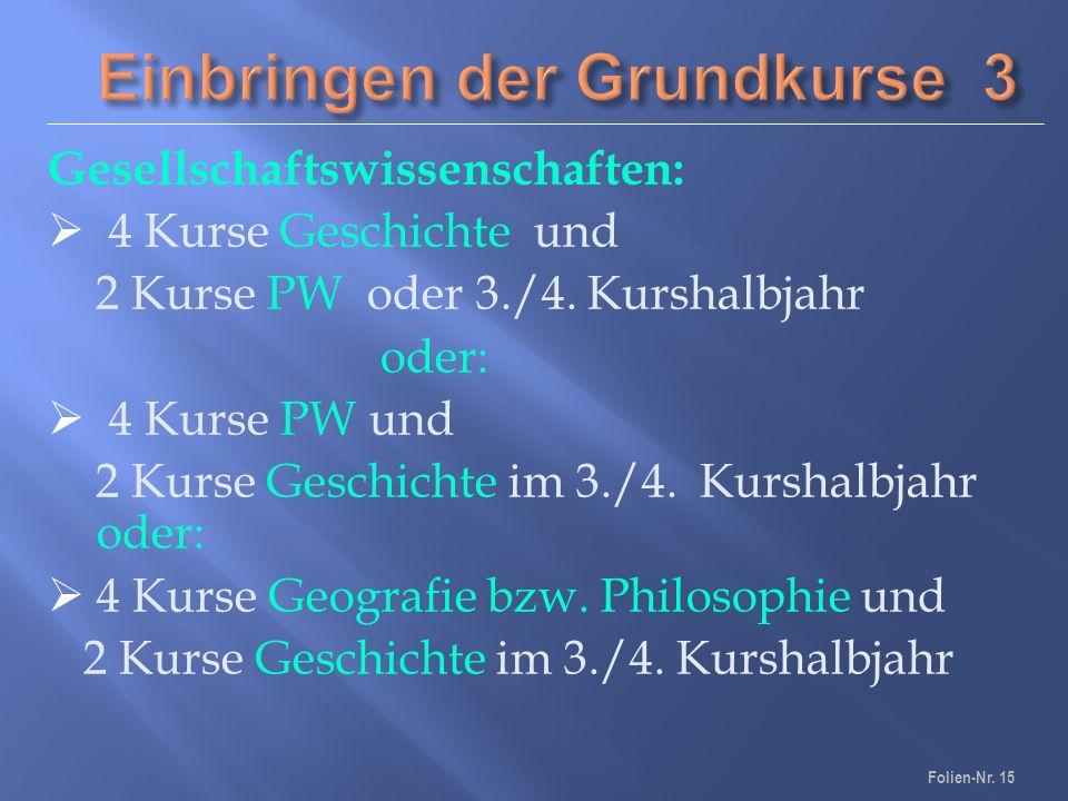 Gesellschaftswissenschaften:  4 Kurse Geschichte und 2 Kurse PW oder 3./4.