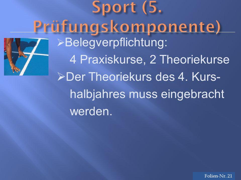 Folien-Nr. 21 Sport (5. Prüfungskomponente) Folien-Nr.