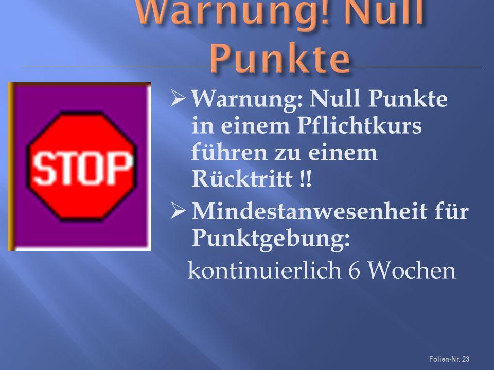  Warnung: Null Punkte in einem Pflichtkurs führen zu einem Rücktritt !.