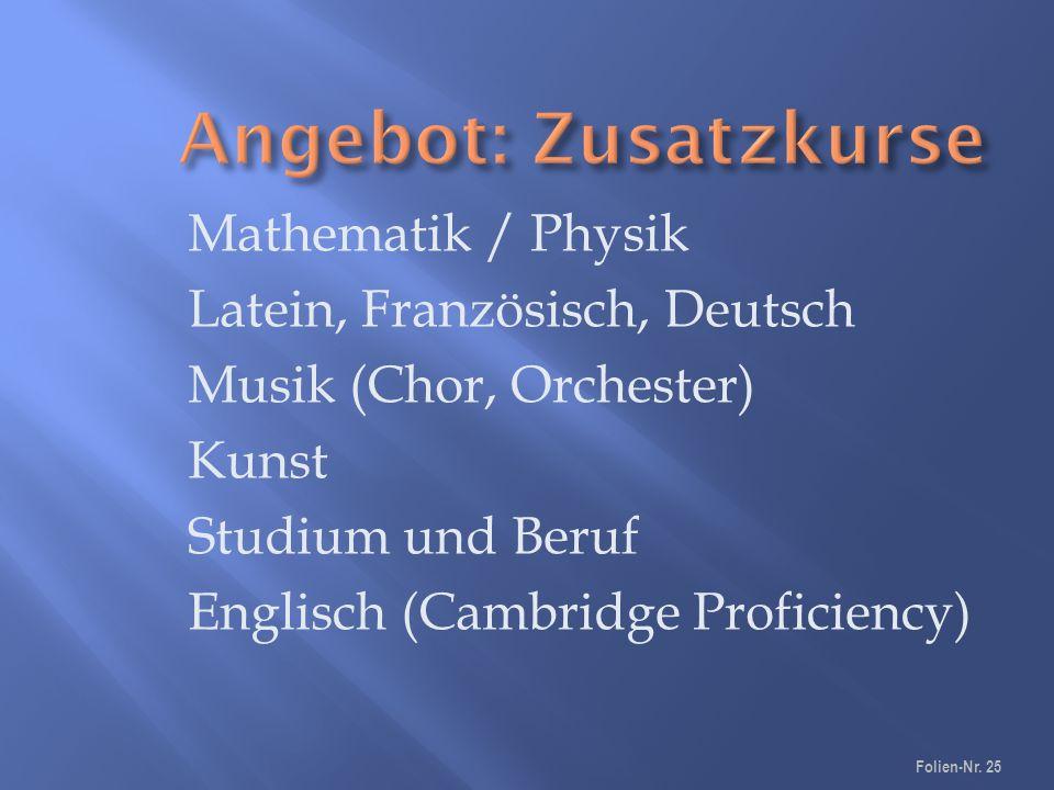 Mathematik / Physik Latein, Französisch, Deutsch Musik (Chor, Orchester) Kunst Studium und Beruf Englisch (Cambridge Proficiency) Folien-Nr.