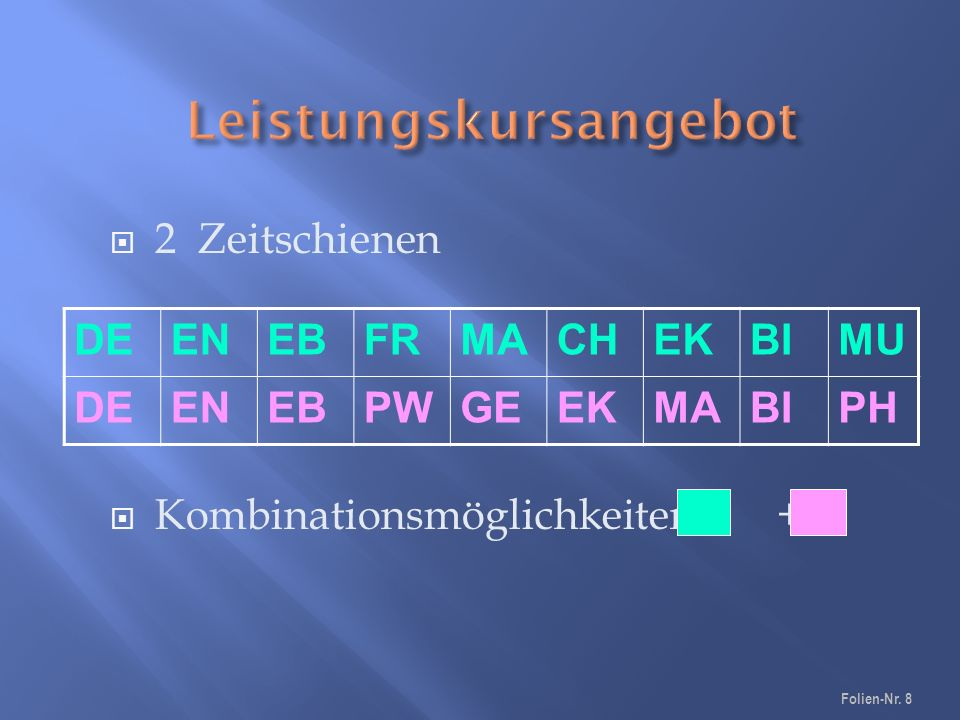  2 Zeitschienen  Kombinationsmöglichkeiten + DEENEBFRMACHEKBIMU DEENEBPWGEEKMABIPH Folien-Nr. 8