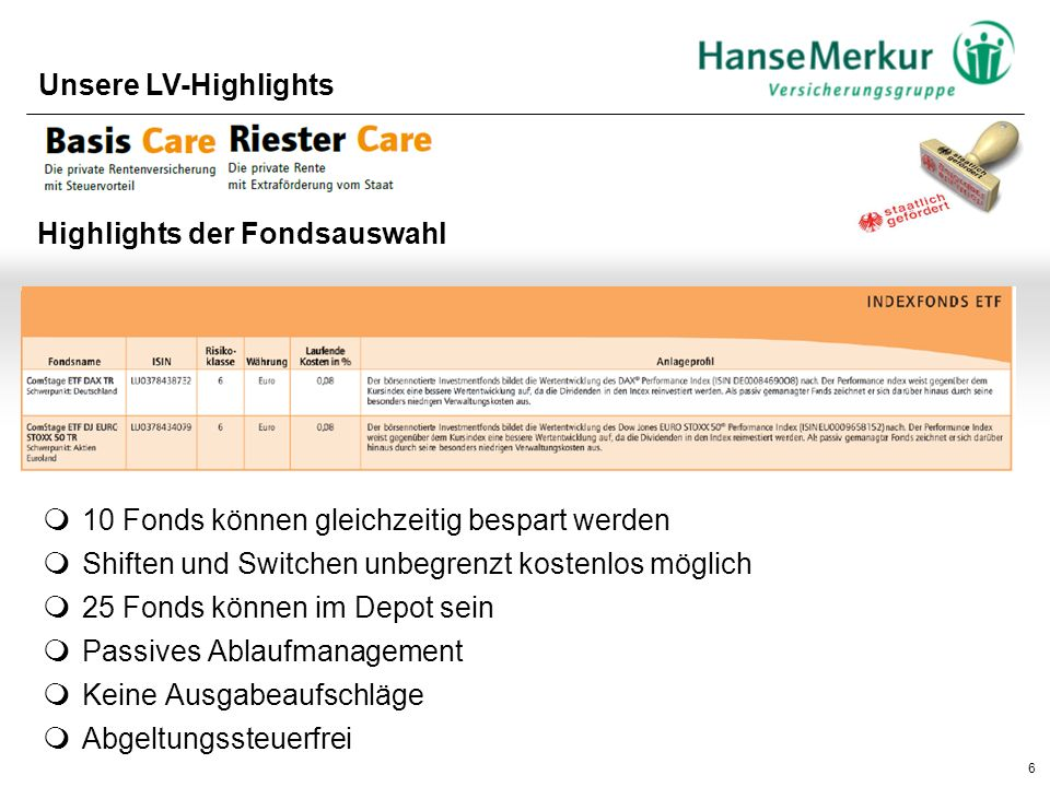 6 Unsere LV-Highlights Highlights der Fondsauswahl  Attraktives Fondsportfolio mit Einzel- und Dachfonds  10 Fonds können gleichzeitig bespart werde