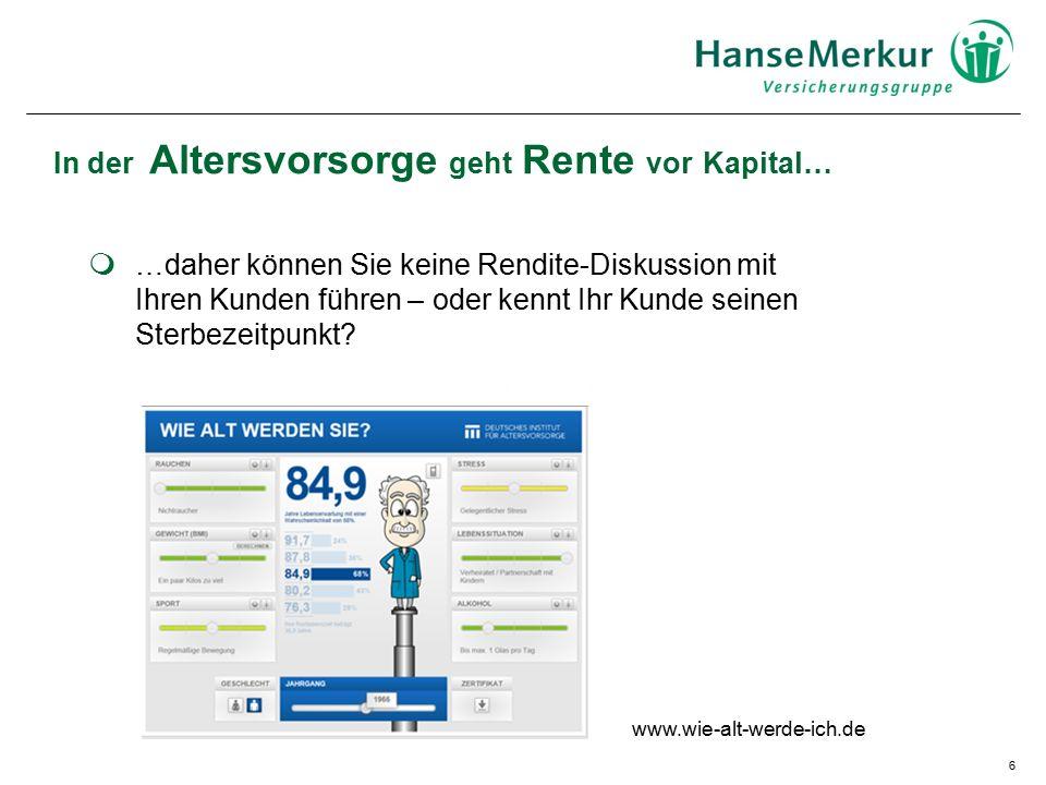 6 In der Altersvorsorge geht Rente vor Kapital… www.wie-alt-werde-ich.de  …daher können Sie keine Rendite-Diskussion mit Ihren Kunden führen – oder kennt Ihr Kunde seinen Sterbezeitpunkt?
