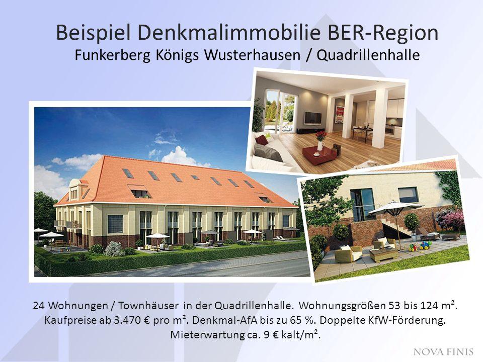 Beispiel Denkmalimmobilie BER-Region Funkerberg Königs Wusterhausen / Quadrillenhalle 24 Wohnungen / Townhäuser in der Quadrillenhalle.