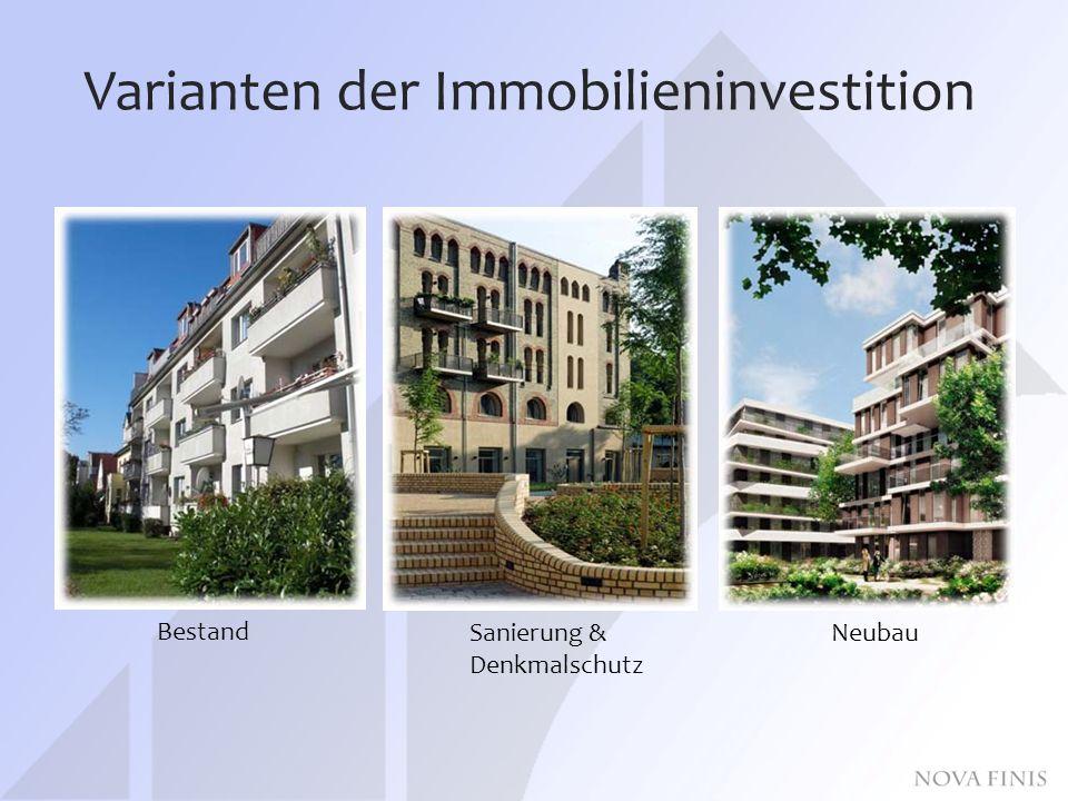 Varianten der Immobilieninvestition Bestand Sanierung & Denkmalschutz Neubau