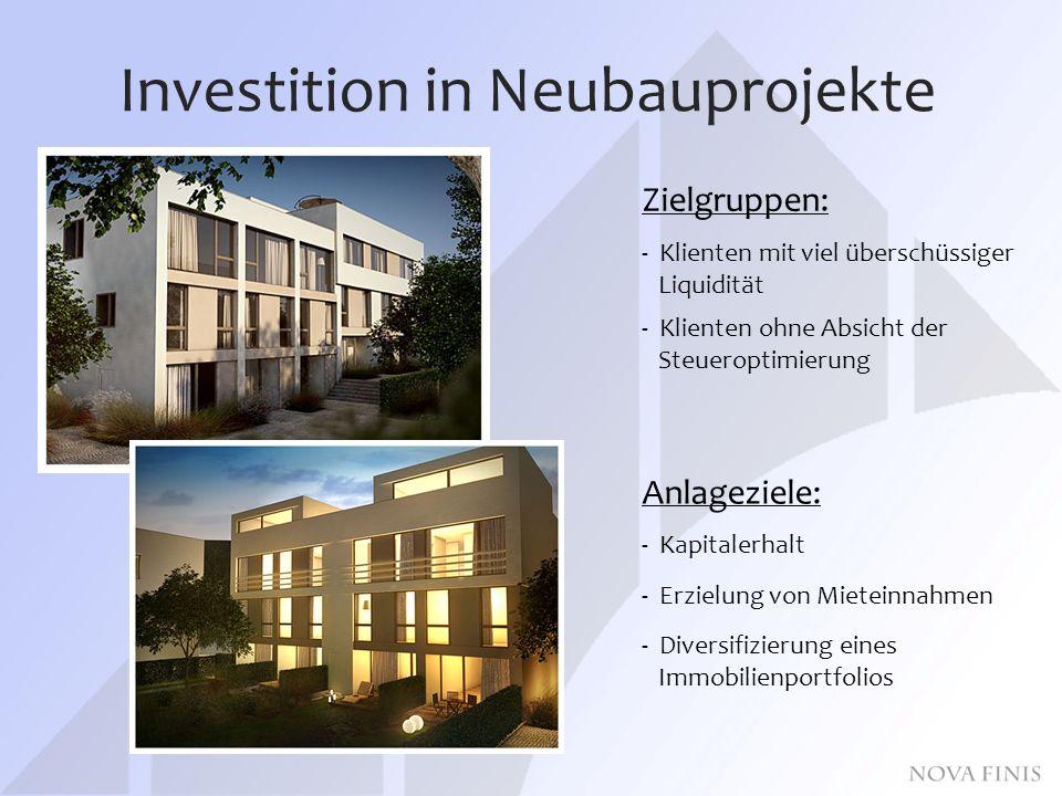 Investition in Neubauprojekte Zielgruppen: - Klienten mit viel überschüssiger Liquidität - Klienten ohne Absicht der Steueroptimierung Anlageziele: - Kapitalerhalt - Erzielung von Mieteinnahmen - Diversifizierung eines Immobilienportfolios