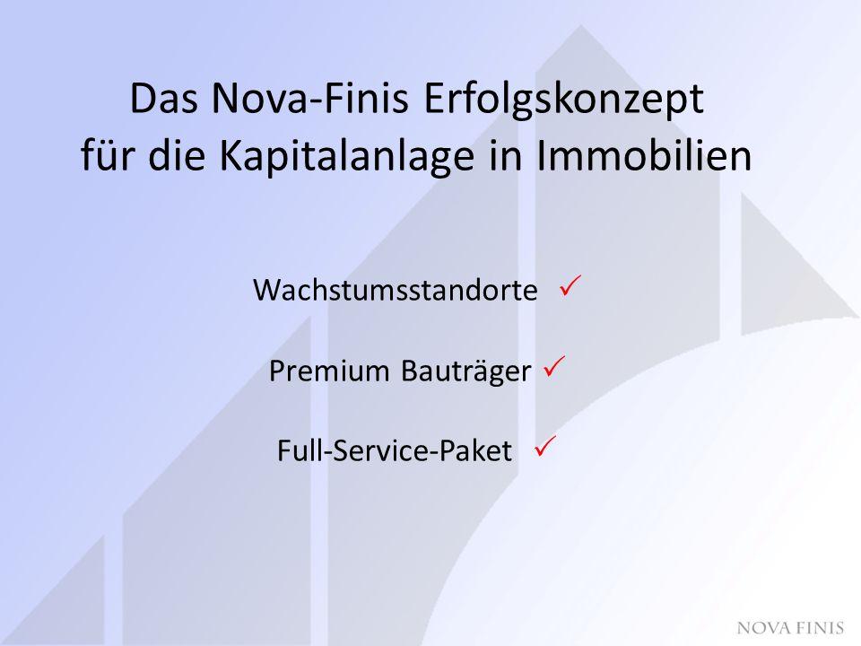 Das Nova-Finis Erfolgskonzept für die Kapitalanlage in Immobilien Wachstumsstandorte  Premium Bauträger  Full-Service-Paket 