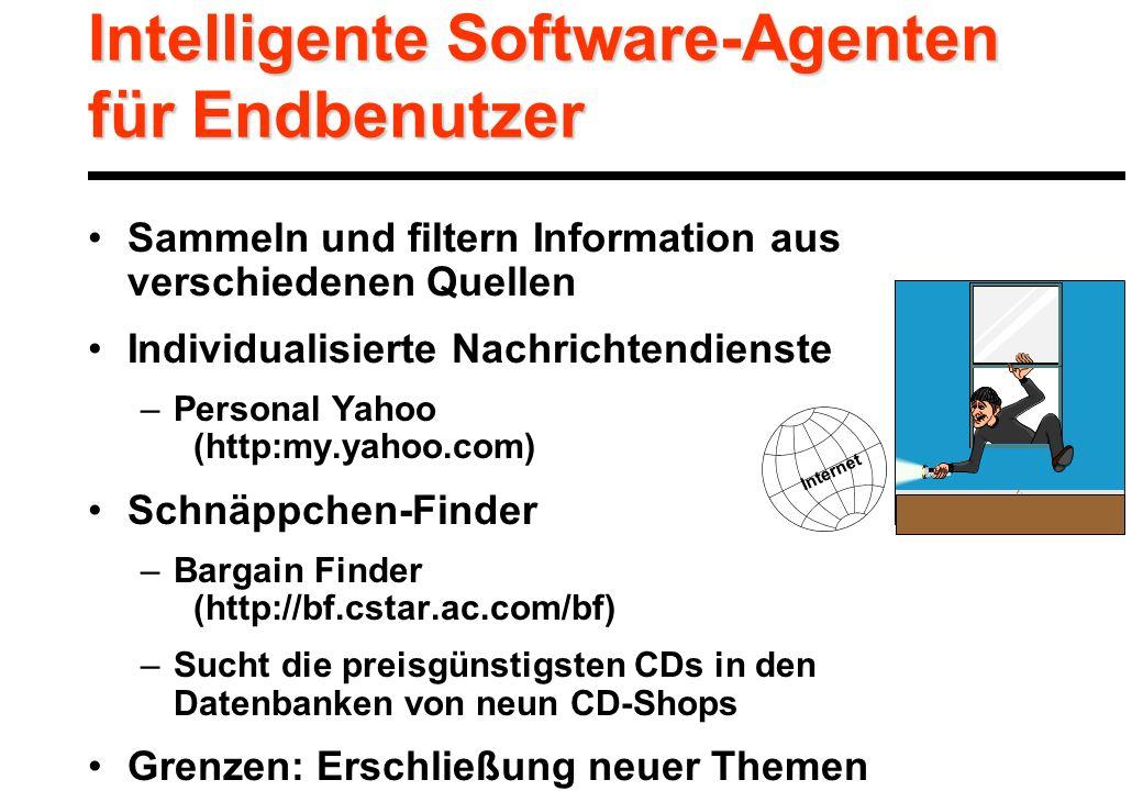 Intelligente Software-Agenten für Endbenutzer Sammeln und filtern Information aus verschiedenen Quellen Individualisierte Nachrichtendienste –Personal