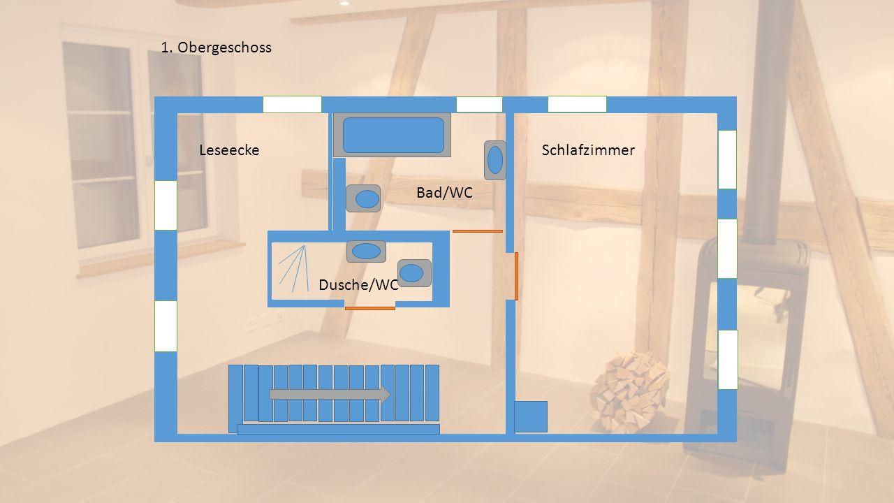 Schlafzimmer Leseecke Bad/WC Dusche/WC 1. Obergeschoss