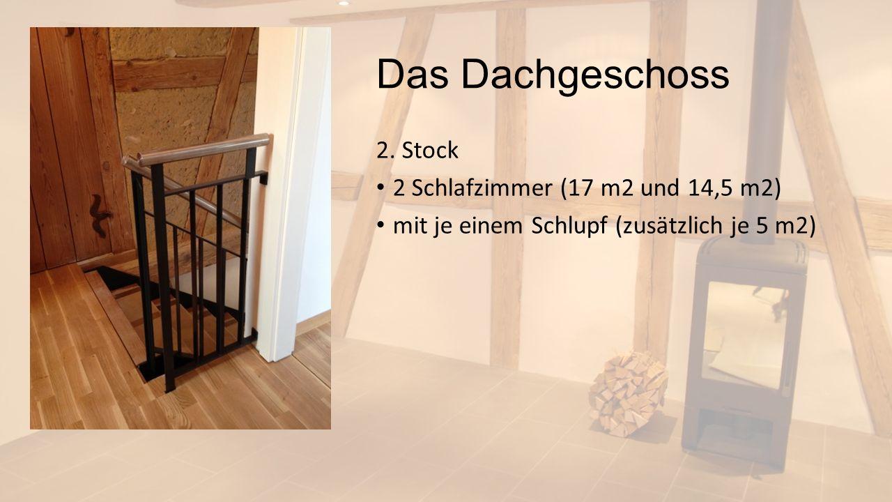 Das Dachgeschoss 2. Stock 2 Schlafzimmer (17 m2 und 14,5 m2) mit je einem Schlupf (zusätzlich je 5 m2)