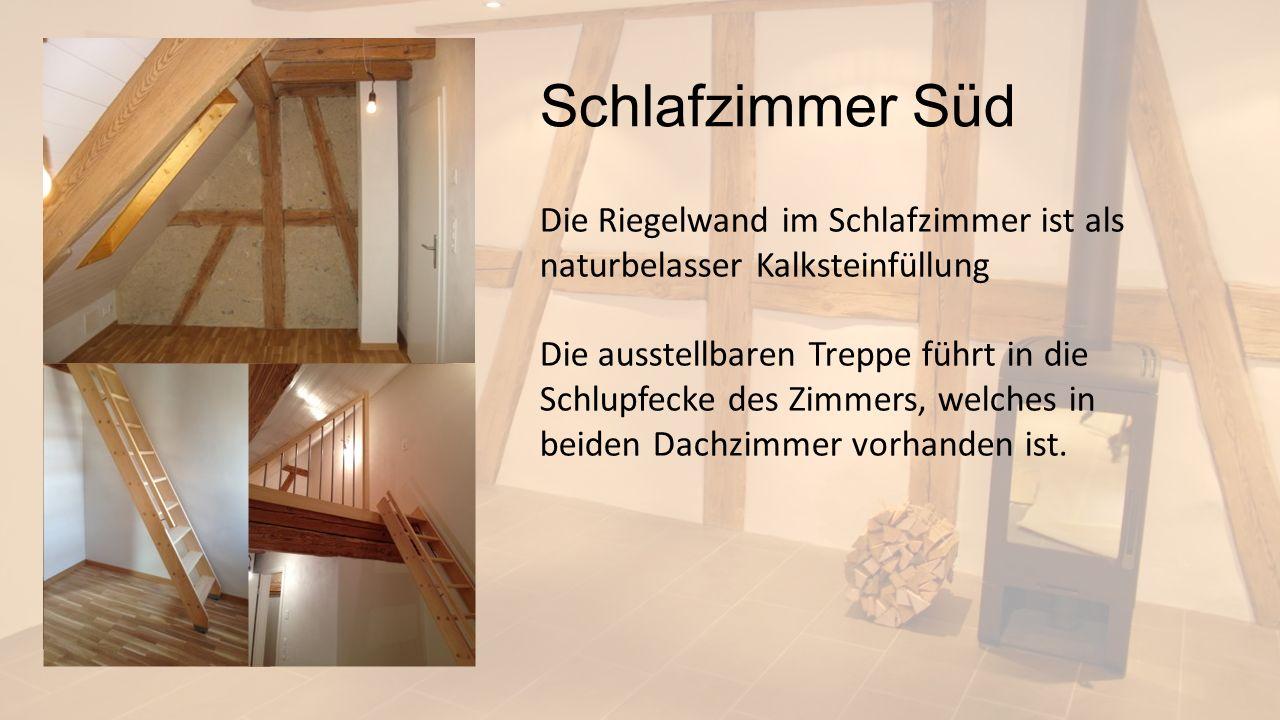Schlafzimmer Süd Die Riegelwand im Schlafzimmer ist als naturbelasser Kalksteinfüllung Die ausstellbaren Treppe führt in die Schlupfecke des Zimmers,
