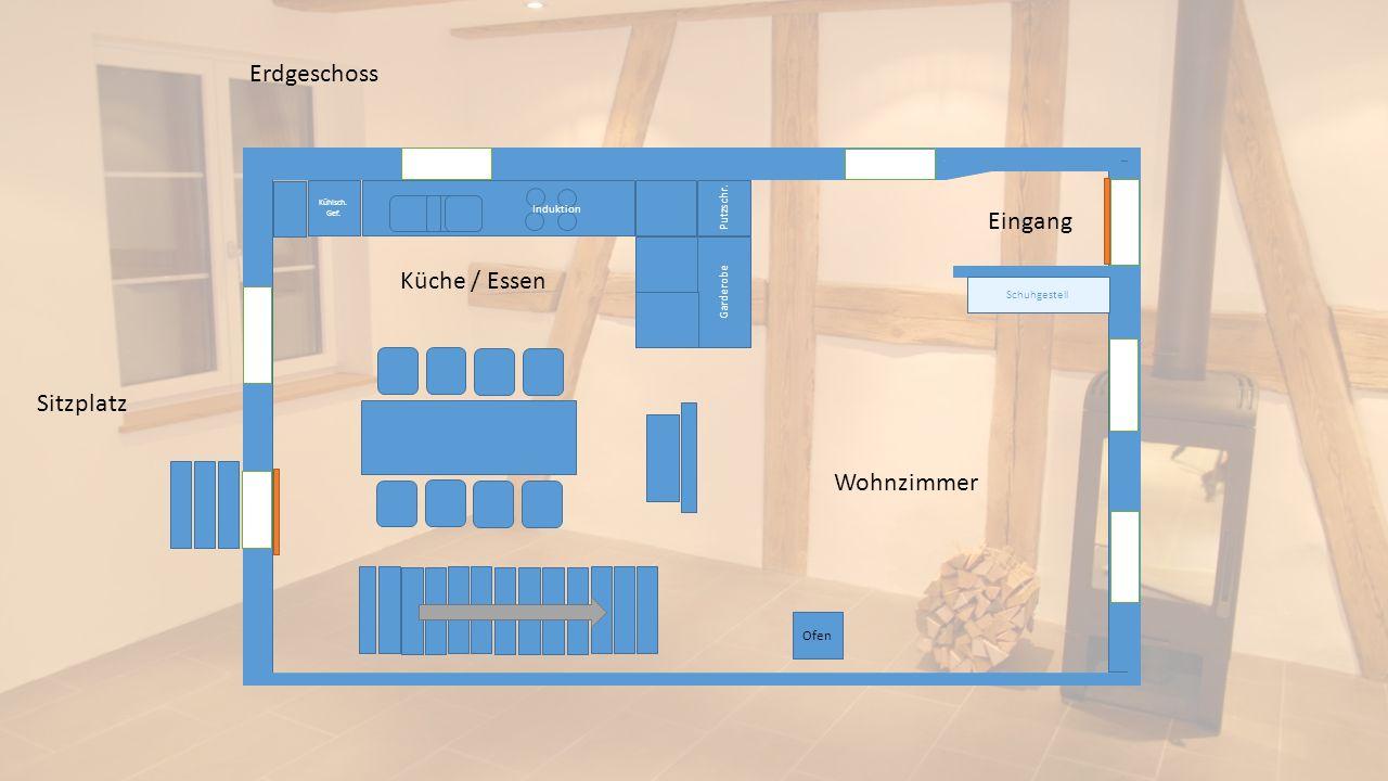 Ofen Schuhgestell Putzschr. Garderobe Kühlsch. Gef. Erdgeschoss Wohnzimmer Eingang Küche / Essen Sitzplatz Induktion