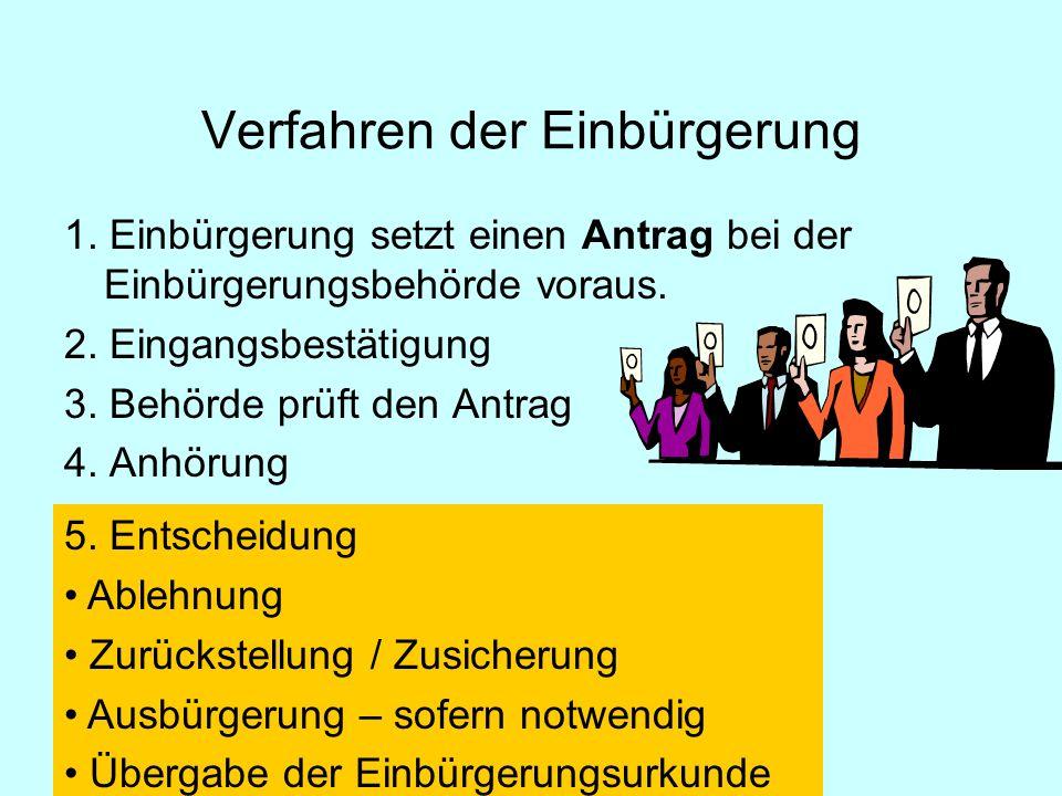 1.Einbürgerung setzt einen Antrag bei der Einbürgerungsbehörde voraus.
