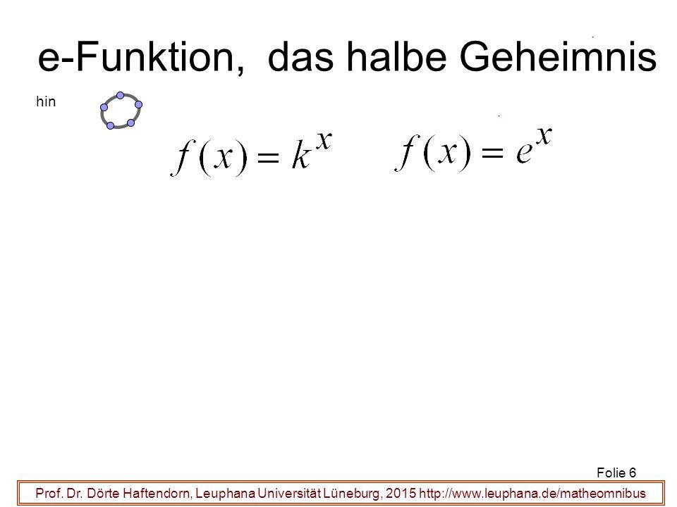 Prof. Dr. Dörte Haftendorn, Leuphana Universität Lüneburg, 2015 http://www.leuphana.de/matheomnibus e-Funktion, das halbe Geheimnis Folie 6 hin