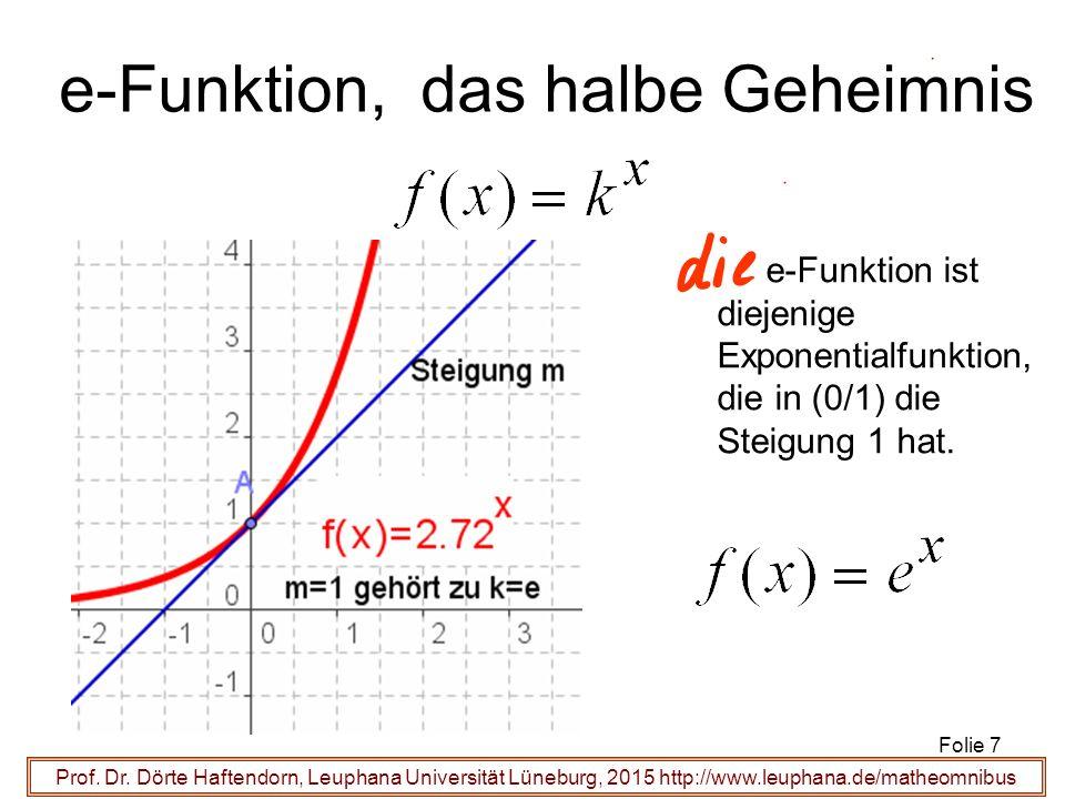 Prof. Dr. Dörte Haftendorn, Leuphana Universität Lüneburg, 2015 http://www.leuphana.de/matheomnibus e-Funktion, das halbe Geheimnis e-Funktion ist die