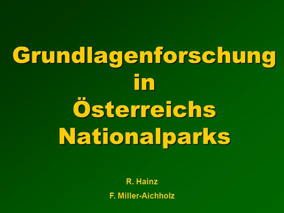 Grundlagenforschung in Österreichs Nationalparks R. Hainz F. Miller-Aichholz