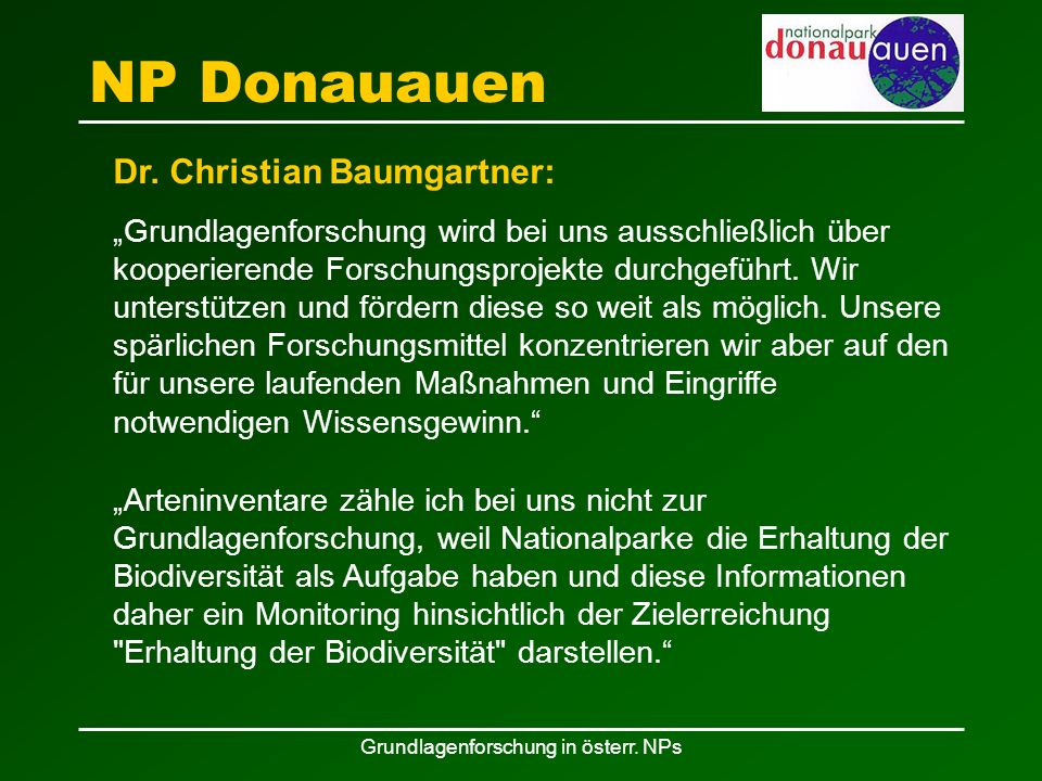 Grundlagenforschung in österr. NPs NP Donauauen Dr.