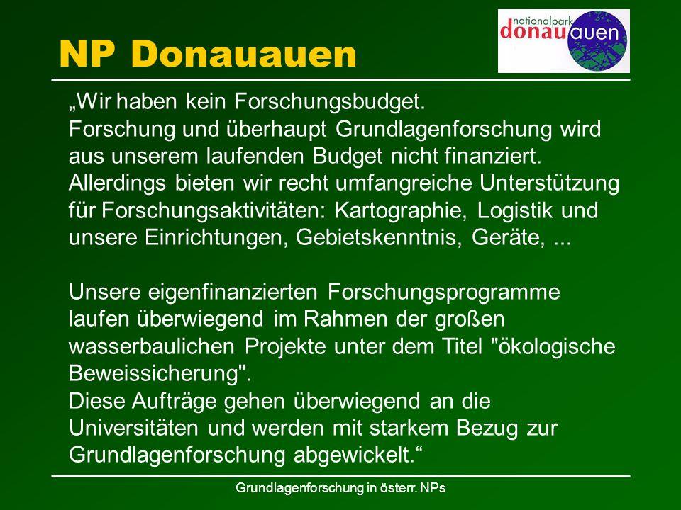 """Grundlagenforschung in österr. NPs NP Donauauen """"Wir haben kein Forschungsbudget."""