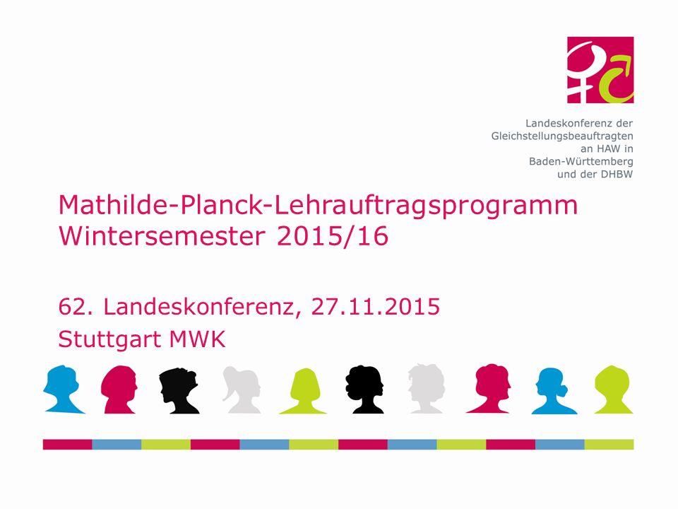 Mathilde-Planck-Lehrauftragsprogramm Wintersemester 2015/16 62.