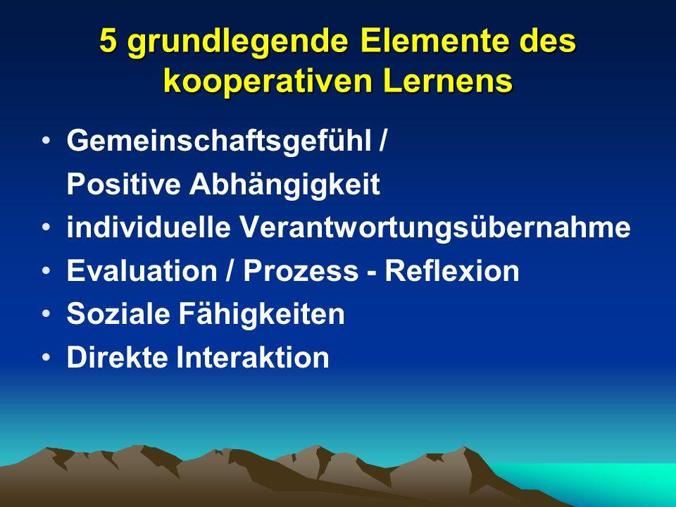 5 grundlegende Elemente des kooperativen Lernens Gemeinschaftsgefühl / Positive Abhängigkeit individuelle Verantwortungsübernahme Evaluation / Prozess - Reflexion Soziale Fähigkeiten Direkte Interaktion