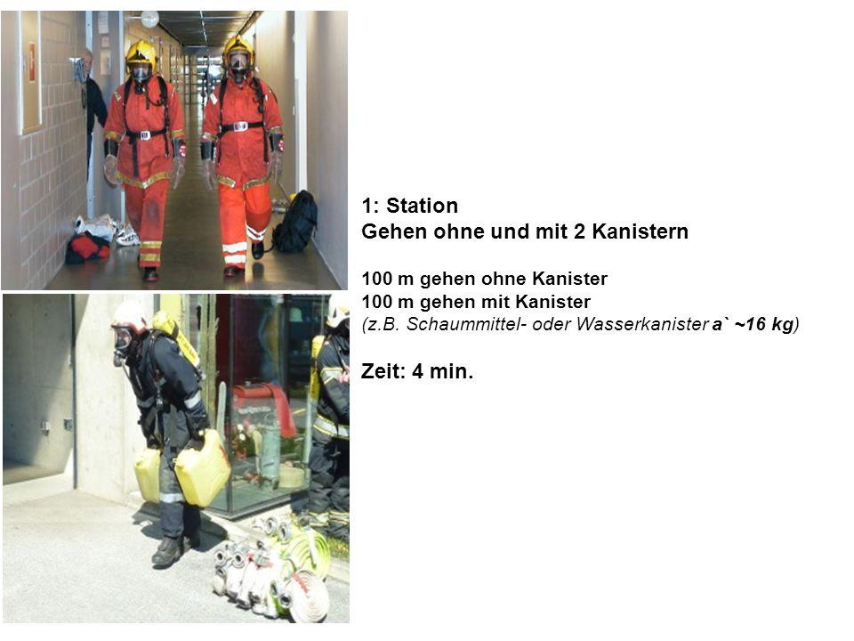 1: Station Gehen ohne und mit 2 Kanistern 100 m gehen ohne Kanister 100 m gehen mit Kanister (z.B. Schaummittel- oder Wasserkanister a` ~16 kg) Zeit: