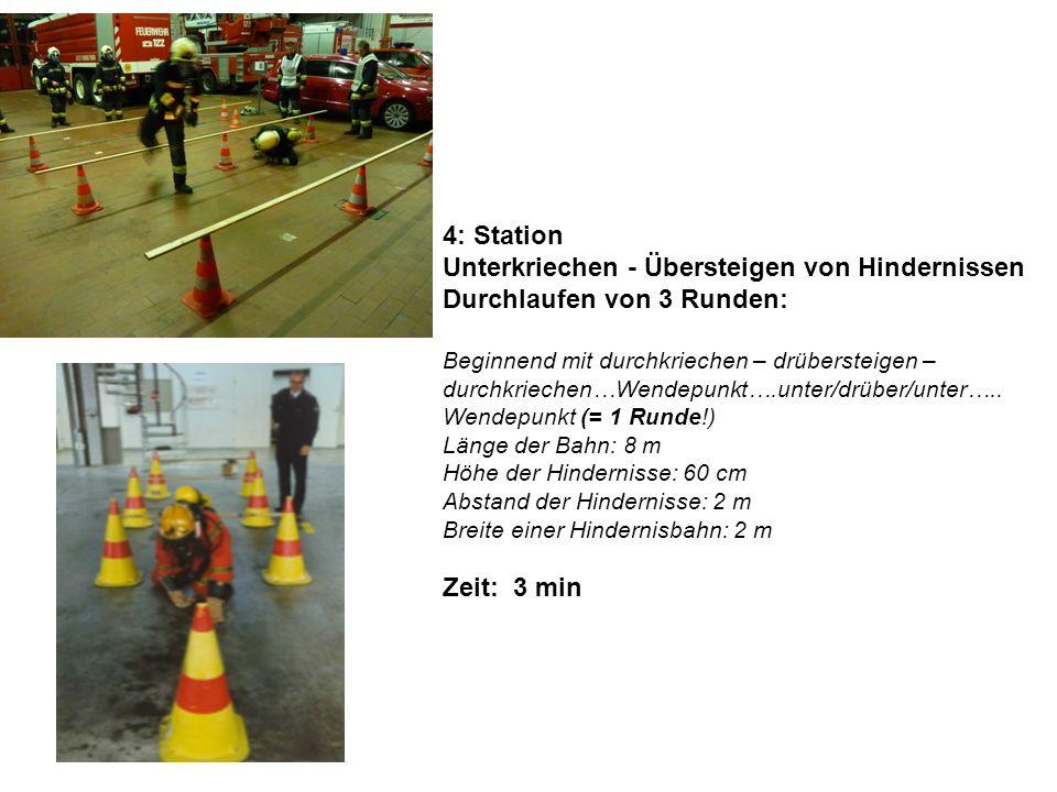 4: Station Unterkriechen - Übersteigen von Hindernissen Durchlaufen von 3 Runden: Beginnend mit durchkriechen – drübersteigen – durchkriechen…Wendepun
