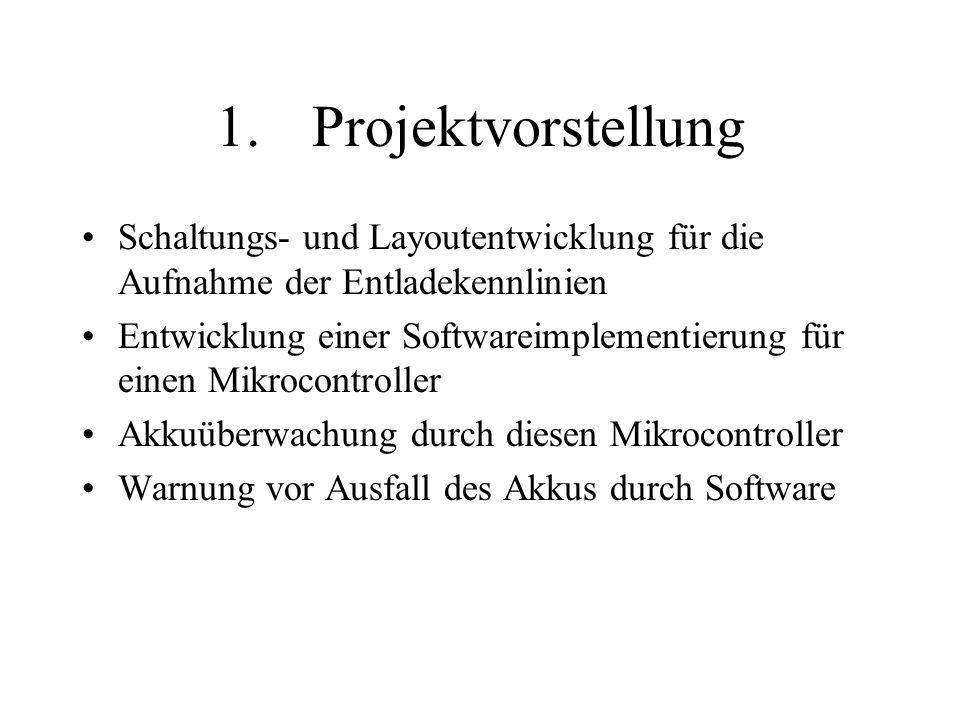 1.Projektvorstellung Schaltungs- und Layoutentwicklung für die Aufnahme der Entladekennlinien Entwicklung einer Softwareimplementierung für einen Mikrocontroller Akkuüberwachung durch diesen Mikrocontroller Warnung vor Ausfall des Akkus durch Software