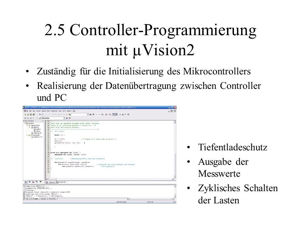 2.5 Controller-Programmierung mit µVision2 Zuständig für die Initialisierung des Mikrocontrollers Realisierung der Datenübertragung zwischen Controller und PC Tiefentladeschutz Ausgabe der Messwerte Zyklisches Schalten der Lasten