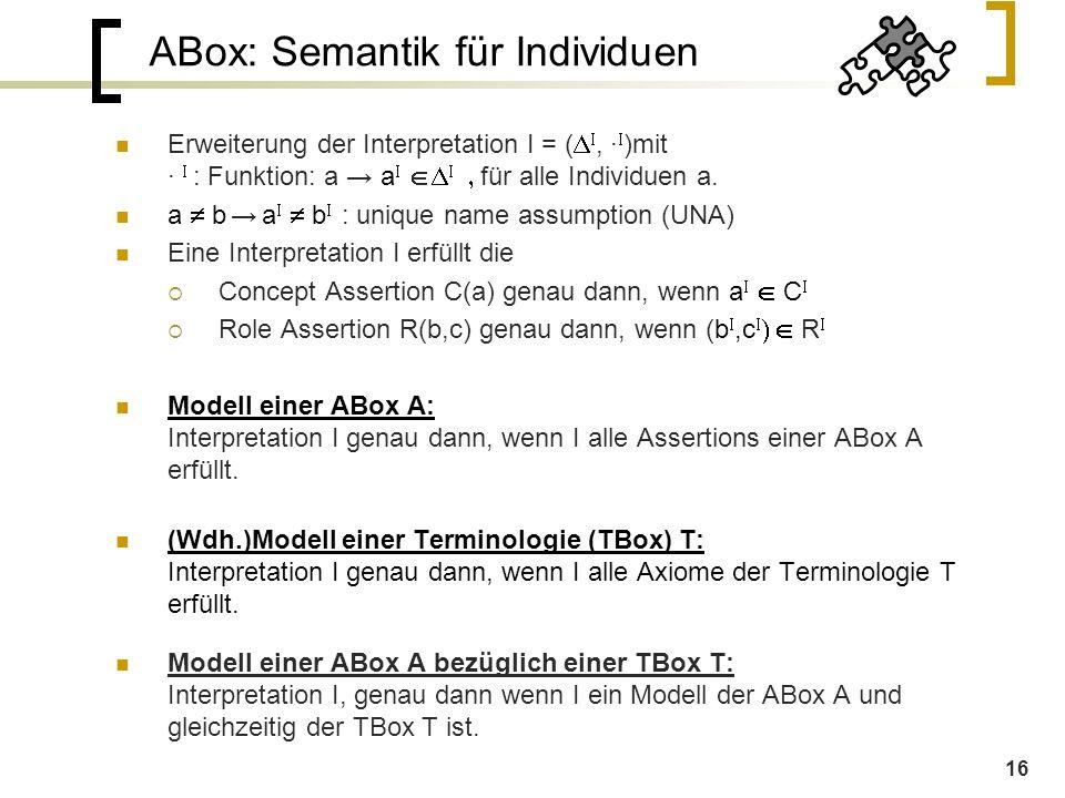 16 ABox: Semantik für Individuen Erweiterung der Interpretation I = (  , ∙  )mit ∙  : Funktion: a → a      für alle Individuen a.