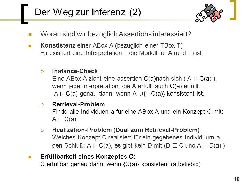 18 Der Weg zur Inferenz (2) Woran sind wir bezüglich Assertions interessiert.