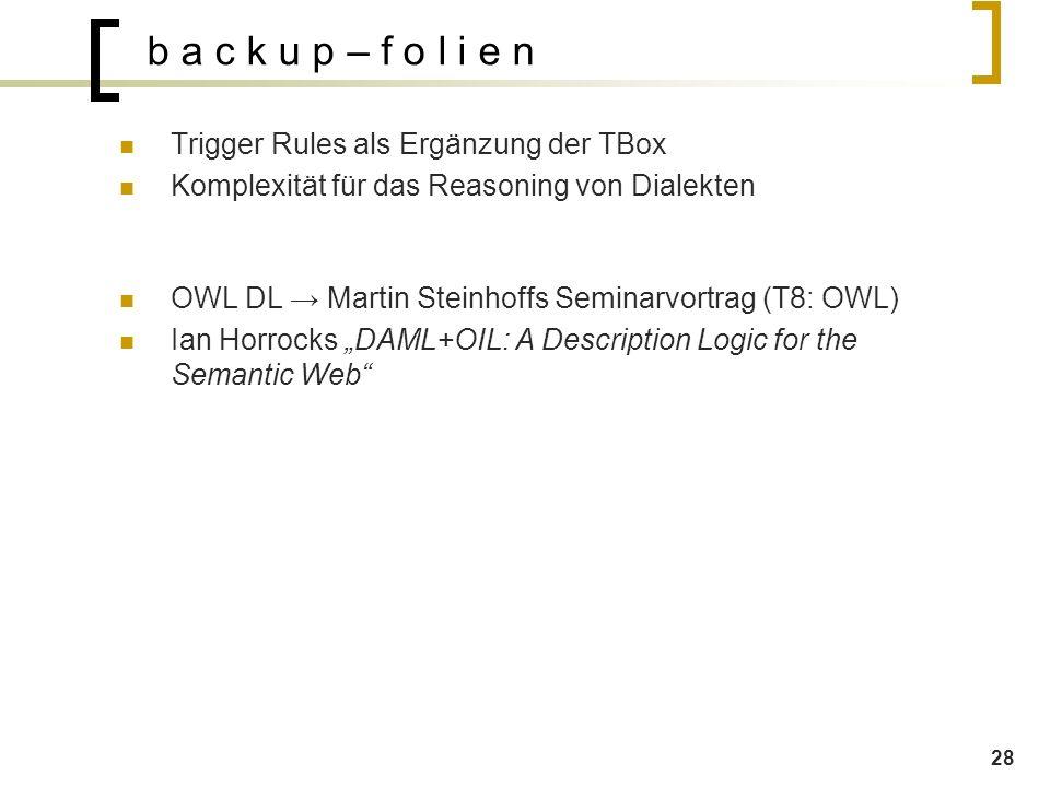 """28 b a c k u p – f o l i e n Trigger Rules als Ergänzung der TBox Komplexität für das Reasoning von Dialekten OWL DL → Martin Steinhoffs Seminarvortrag (T8: OWL) Ian Horrocks """"DAML+OIL: A Description Logic for the Semantic Web"""