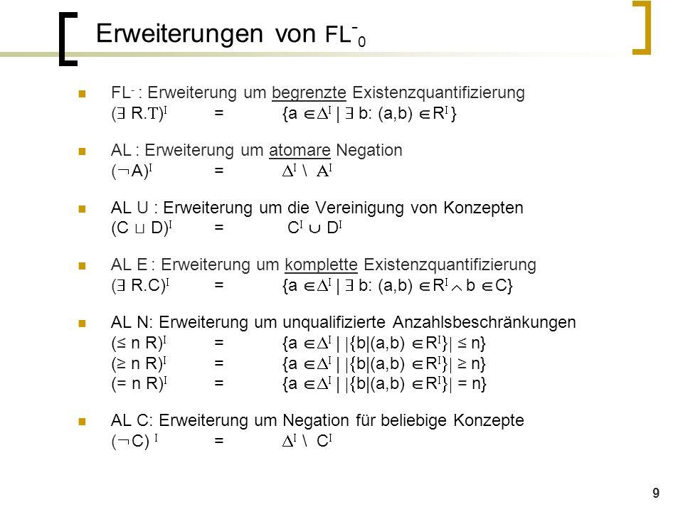 9 Erweiterungen von FL - 0 FL - : Erweiterung um begrenzte Existenzquantifizierung (  R.