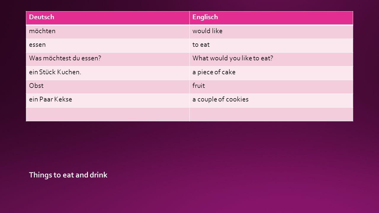 DeutschEnglisch trinkento drink Was möchtest du trinken?What would you like to drink.
