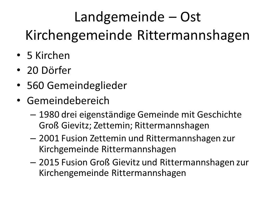 Landgemeinde – Ost Kirchengemeinde Rittermannshagen 5 Kirchen 20 Dörfer 560 Gemeindeglieder Gemeindebereich – 1980 drei eigenständige Gemeinde mit Ges