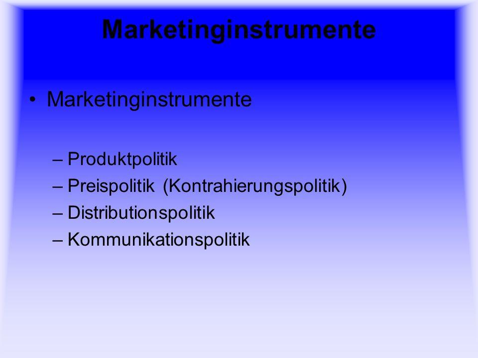 Marketinginstrumente –Produktpolitik –Preispolitik (Kontrahierungspolitik) –Distributionspolitik –Kommunikationspolitik