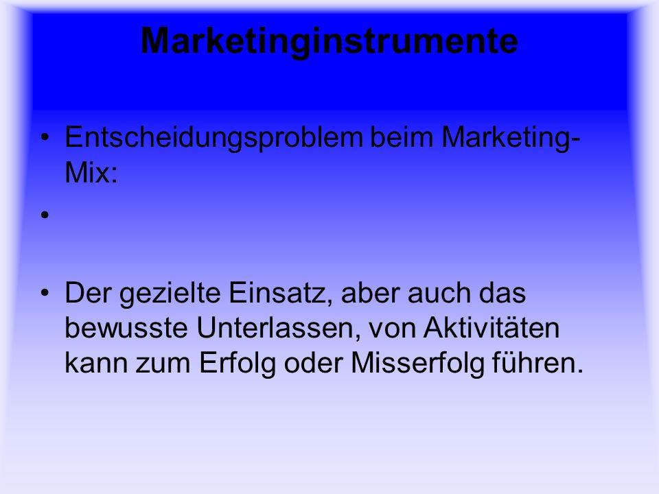 Marketinginstrumente Entscheidungsproblem beim Marketing- Mix: Der gezielte Einsatz, aber auch das bewusste Unterlassen, von Aktivitäten kann zum Erfo
