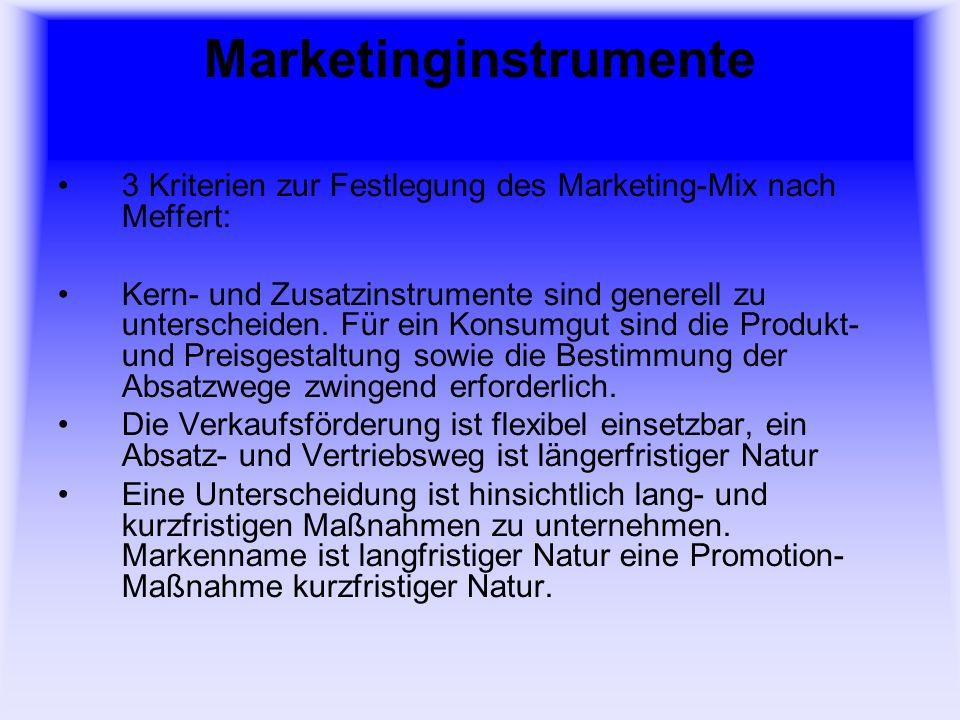 Marketinginstrumente 3 Kriterien zur Festlegung des Marketing-Mix nach Meffert: Kern- und Zusatzinstrumente sind generell zu unterscheiden. Für ein Ko
