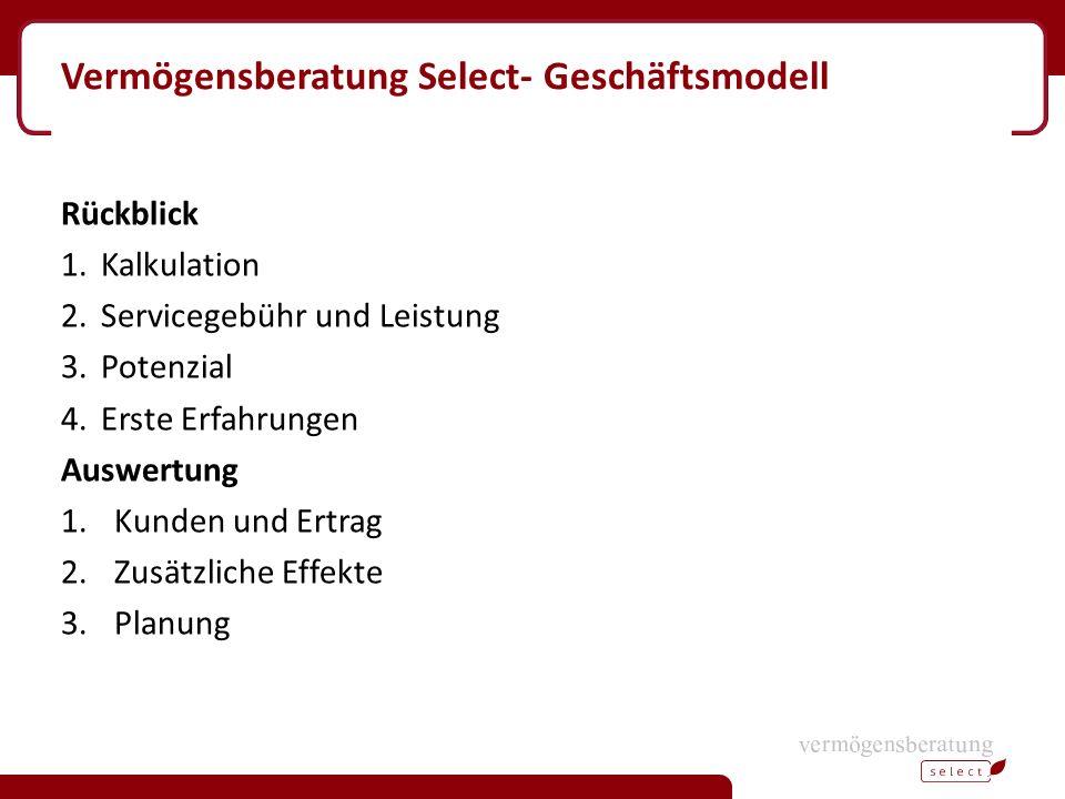 Vermögensberatung Select- Geschäftsmodell Rückblick 1.Kalkulation 2.Servicegebühr und Leistung 3.Potenzial 4.Erste Erfahrungen Auswertung 1.Kunden und Ertrag 2.Zusätzliche Effekte 3.Planung