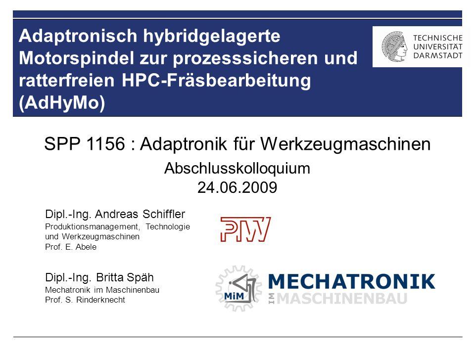 Adaptronisch hybridgelagerte Motorspindel zur prozesssicheren und ratterfreien HPC-Fräsbearbeitung (AdHyMo) Dipl.-Ing. Britta Späh Mechatronik im Masc
